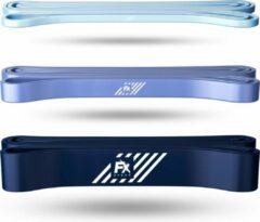 Blauwe FX FFEXS Pull up band weerstandsbanden fitness set van 3 - Weerstandsband elastiek heavy medium and light - Resistance bands power workout gear gewichtheffen
