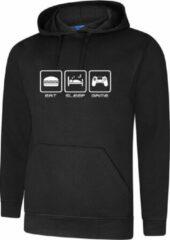 ByKemme Hooded Sweater - met capuchon - Casual Hoodie - Lifestyle Hoody - Workout Sweater - Chill Sweater - Zwart - Eat Sleep Game. Maat XXL