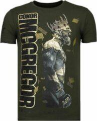 Groene Local Fanatic Notorious King - Conor McGregor Rhinestone T-shirt - Khaki Notorious King - Conor McGregor Rhinestone T-shirt - Khaki Heren T-shirt Maat L