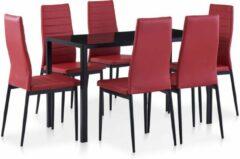 Merkloos / Sans marque Complete Eettafel set Rood 7 delig met glazen tafel (Incl Dienblad) - Eet tafel + 6 Eetstoelen - DIneertafel - Eettafelstoelen - Eetkamerstoelen - Eethoek 6 persoons