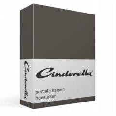 Antraciet-grijze Cinderella Basic - Percaline katoen - Hoeslaken - Tweepersoons - 140x200 cm - Anthracite
