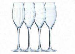 Transparante Eclat Illumination champagneglas met print - champagneglazen - 24cl - 4 stuks