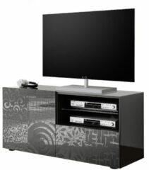 Antraciet-grijze Pesaro Mobilia Tv-meubel Miro 121 cm breed in hoogglans antraciet