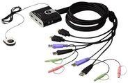 ATEN Kompakt Kabel KVM Switch mit HDMI + USB + Audio, 2-fach