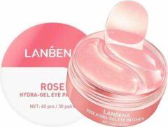 Roze Lanbena brightening Eye patches - Oogmasker - Donkere kringen - Vermindering wallen - Huidverzorging - Huidveroudering - Oog crème - Versterkt huid - Vermoeidheid - Ooglijnen - Collageen- Hydrateren - 60 stuks