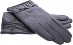 IMoshion Zwarte echt lederen touchscreen handschoenen met sierlijk polsriempje - Maat XL