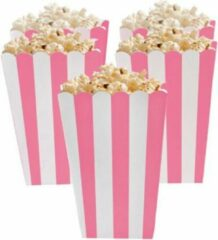 Stemen Popcorn bakjes roze 6 stuks -16 cm hoog - Popcornbakjes/chipsbakjes/snackbakjes kinderverjaardag/kinderfeestje - Babyshower