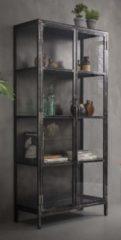 Zaloni Vitrinekast Rift 190 cm hoog in grijs gun metal