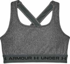 Under Armour - Women's Crossback Mid Heather Bra - Sportbeha maat M, zwart/grijs