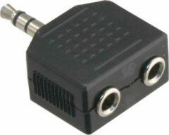 Zwarte Q-link stereo splitter 3.5 millimeter 1ste male/2de female