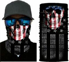 New Age Devi Motor Gezichtsmasker Nekwarmer Schedel Amerika Amerikaanse Vlag - Motormasker - Skimasker - Motorsjaal - Halloween