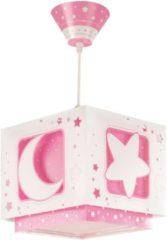 Dalber Roze hanglampje meisjes babykamer Maan en sterren - Hanglamp - Roze