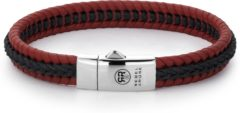 Rebel & Rose Rebel and Rose RR-L0067-S Armband Dual Twisted Black-Red leder/zilver zwart-rood 9 mm M 19,5 cm