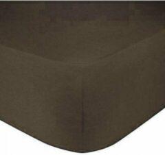 Home bedding Premium hoeslaken-jersey-100% katoen -stretch-1Persoons-90x200+30cm Donkerbruin