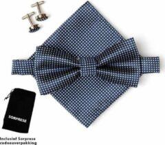 Vlinderstrik inclusief pochette en manchetknopen - Donkerblauw - kleine ruit - Sorprese - luxe - vlinderdas - strik - strikje - pochet - heren