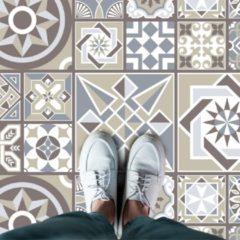 Bruine Walplus Spaans Kalksteen Melange - Home Decoratie Sticker - Vloersticker/Wandsticker - 120x60 cm