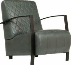 Merkloos / Sans marque Luxe Fauteuil Grijs Echt Leer / Loungestoel / Lounge stoel / Relax stoel / Chill stoel / Lounge Bankje / Lounge Fauteil / Cocktail stoel