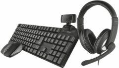 Zwarte Trust Qoby 4-in-1 Thuiswerken bundel - Draadloos - Toetsenbord - Muis - Headset - Webcam
