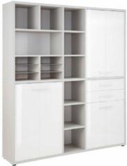 Bermeo Boekenkast Banco Large - Platina grijs met wit