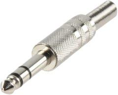 Grijze Stereo 6,35mm Jack audio connector recht metaal