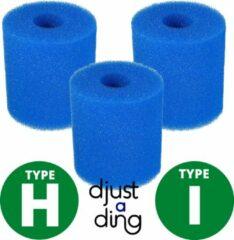 Blauwe 3 x Type H / I Filter Zwembad Herbruikbaar - Geschikt als Zwembadfilter Intex of Bestway - Zwembad Onderhoud Filtercartridge - Djust A Ding