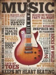 Beige Signs-USA - Music Inspires - Muziek tekstbord - Wandbord - 33 x 44 cm