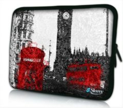 Rode Sleevy 17.3 laptophoes artistiek Londen - laptop sleeve - laptopcover - Collectie 250+ designs