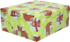 Shoppartners 1x Rollen Inpakpapier/cadeaupapier groen met luiaard print 200 x 70 cm rol - Cadeauverpakking kadopapier