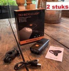 Zwarte RHRQuality RJRQuality Fietslamp voorlicht TK3 ( 2 stuks) mega sterk batterij led usb oplaadbaar 1500 L fiets verlichting zware li-ion accu powerbank iphone zaklamp fietslampen koplamp