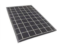 Buiten-vloerkleed blok-patroon zwart 120 x 180 cm. RAMPUR