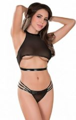 Zwarte Magic Silk,Magic Silk - Vixen Mesh Underboob Halter & Strappy Crotchless Panty Set - Black - S/M