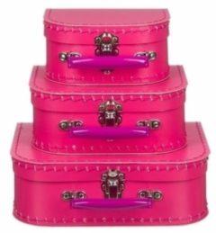 Merkloos / Sans marque Poppen koffertje fuchsia roze 16 cm