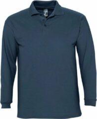 Blauwe SOLS Heren-Winter II Poloshirt met lange mouwen van Piqué katoen (Denim)