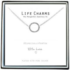 Life Charms Ketting met Giftbox Silver Crystal Circle