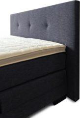 Boxspring Brava compleet, merk Olympic Life®, 180 x 220 cm, zwart, 14-delig, breed hoofdbord met 3 gecapitonneerde knopen motief