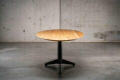Zwarte Seuren Tafels BUD GET 4 Elips - 250 x 110 x 76 - Massief honing eiken houten elips tafelblad met metalen potenset