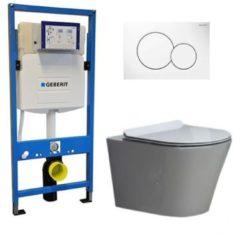 Douche Concurrent Geberit UP 320 Toiletset - Inbouw WC Hangtoilet Wandcloset - Saturna Flatline Sigma-01 Wit