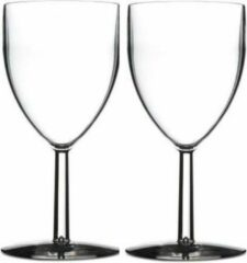 Transparante Rosti Mepal 10x stuks Mepal wijnglazen van San kunststof 300 ml - Onbreekbare / herbruikbare camping/picknick glazen