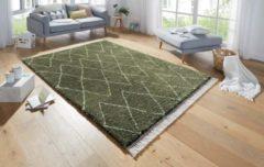 Mint rugs Hoogpolig vloerkleed Jade - olijfgroen/crème 80x150 cm