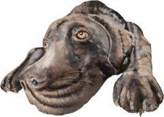 Clayre & Eef Wanddecoratie Hond 5WA0119 70*52*5 cm - Meerkleurig Ijzer Muurdecoratie Wandversiering