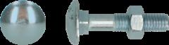 Zilveren Slotbout, Staal, Verzinkt, 4.6, M10x60mm incl Moer, DIN603/555, Per 100 stuks