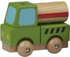 Marionette Speelgoed groene cementwagen hout 9 cm