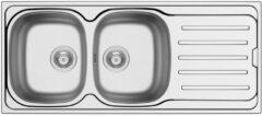 Nemo Go Callisto spoeltafel 1160 x 500 mm D92 mm met 2 bakken roestvrij staal gepolijst sifon dubbel plaatsbesparend plug met overloop plug zonder overloop inoxclean staaltje 50ml