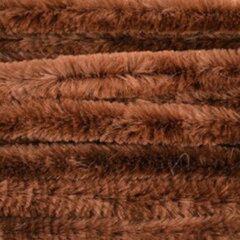 Merkloos / Sans marque 20x Bruin chenille draad 14 mm x 50 cm - Buigbaar draad - Pluche chenillegaren/chenilledraden - Hobbymateriaal om mee te knutselen