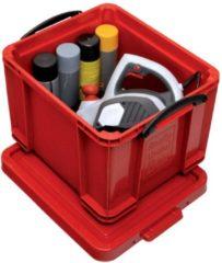 Rode Really Useful Box opbergdoos 35 liter, rood met zwarte handvaten