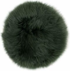 Donkergroene Dutchskins Stoelkussen - zitkussen schapenvacht - mos groen rond - stoelpad - zetelkussen