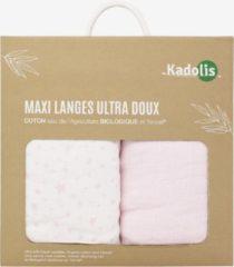 KADOLIS Maxi ultra zachte luiers Tencel en biokatoenen sterren (set van 2) Lichtroze 120 x 120 cm