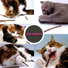 Make Me Purr Matatabi Kattenkruid Stokjes voor Katten (20 stuks) - 100% Biologische Catnip Kruiden Kauwstokjes - Silver Vine Sticks - Kattensnacks - Kattenspeelgoed - Kattenspeeltjes - Gezonde Kitten Snacks Speeltjes - Grumpy Happy Cat Toys