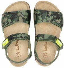 Groene Kipling Nubbi 3 sandalen met camouflageprint