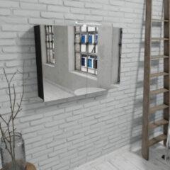 Zaro Beam mat zwarte spiegelkast 100x70x16cm 2 deuren